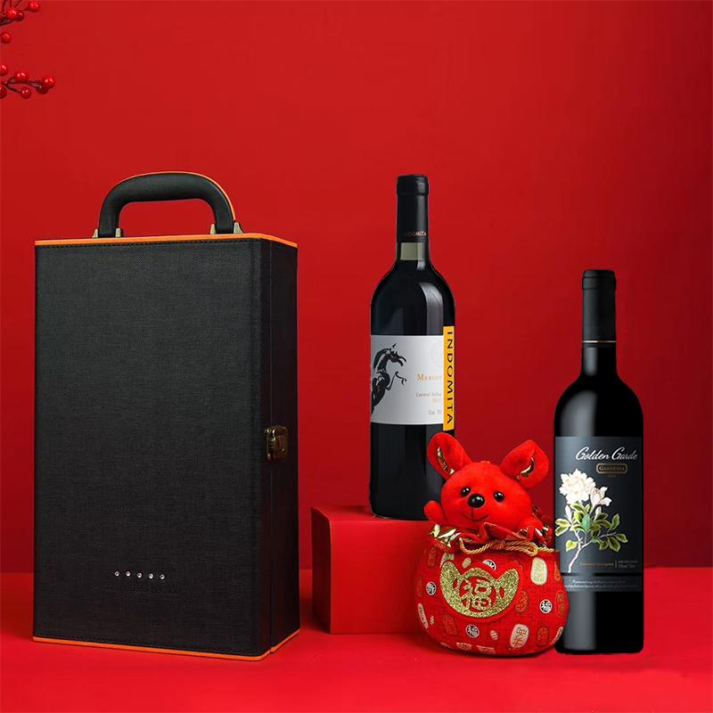张裕红酒智利13度原瓶进口魔狮干红葡萄酒金栀珍藏红酒双支礼盒装
