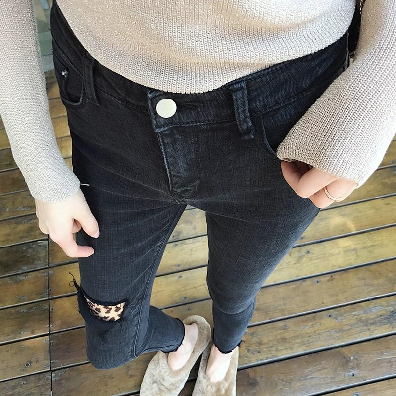 假破洞高腰牛仔裤女黑色chic显瘦小脚九分裤秋冬2018新款韩版修身