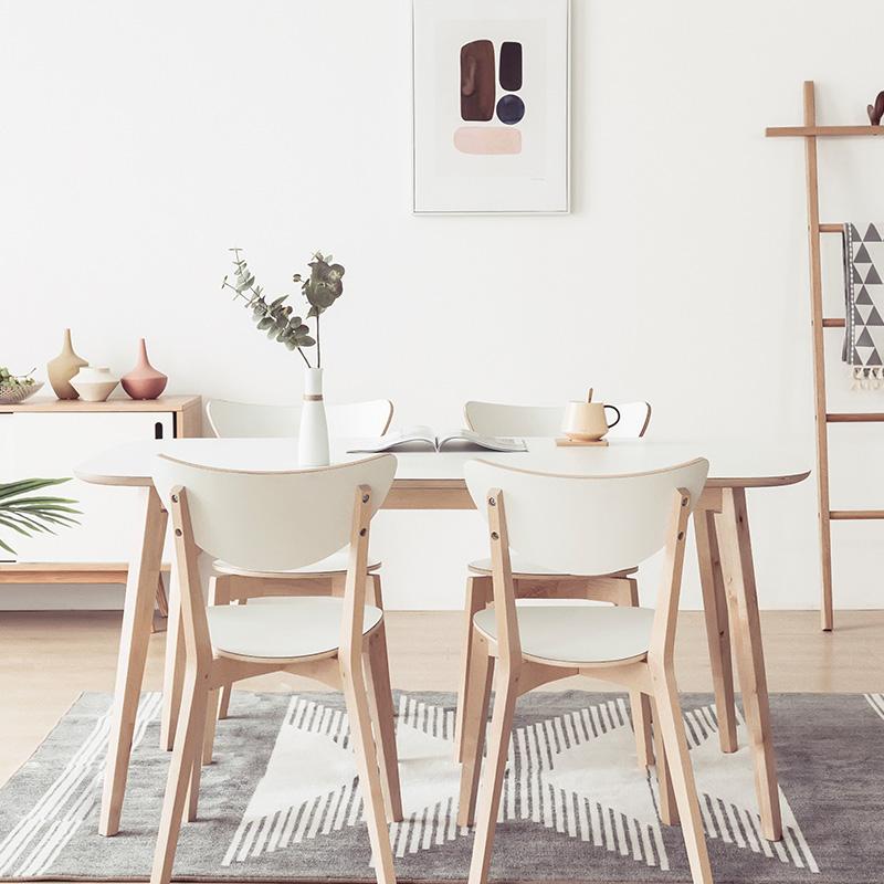 北欧风格诺米拉实木餐桌现代简约ins风宜家用餐桌椅组合餐厅家具