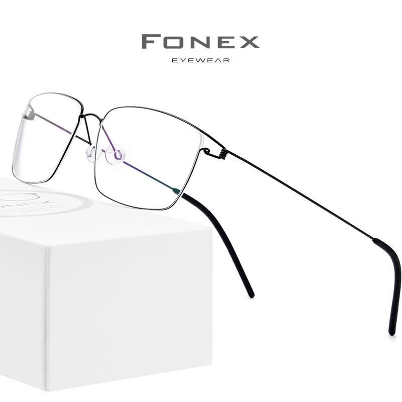 华镜FONEX钛合金眼镜架金丝方形眼镜框近视眼镜男超轻商务可配镜