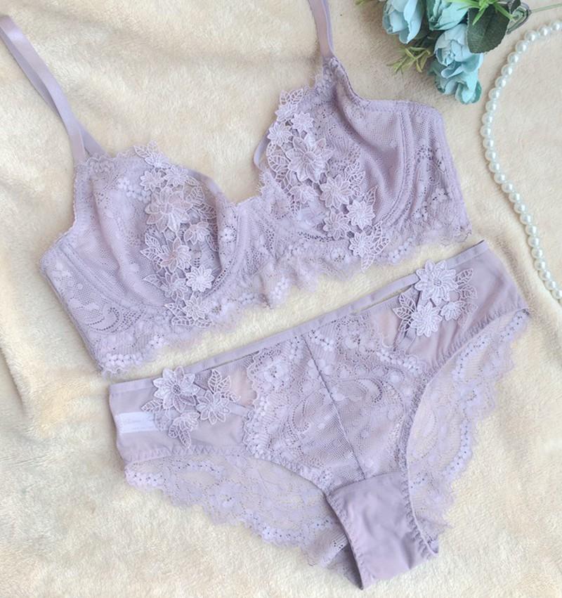 小芬超薄文胸大胸显小有钢圈性感显小胸舒适薄款套装紫罗兰色内衣