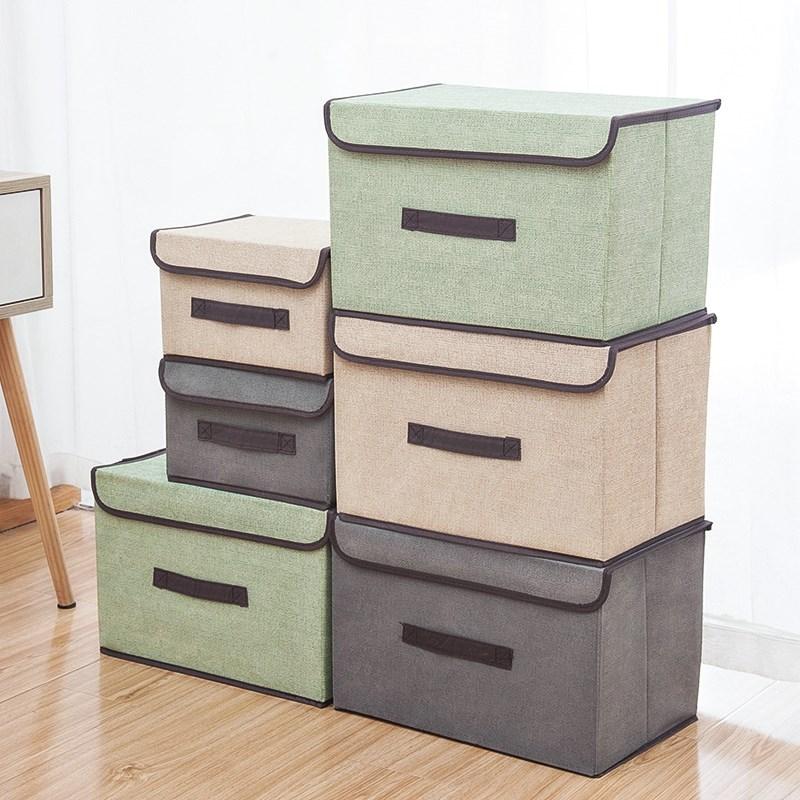简约带盖无纺布折叠收纳箱有盖衣服储物箱布艺儿童玩具收纳盒整理