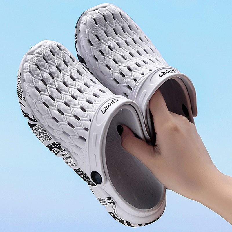洞洞鞋大头鞋夏两用防滑软底拖鞋男潮2019新款外穿沙滩鞋包头凉鞋