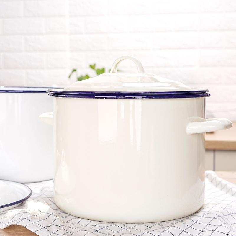 珐琅搪瓷米桶日式7.5L防虫防潮家用密封储物收纳桶面粉米缸15斤米