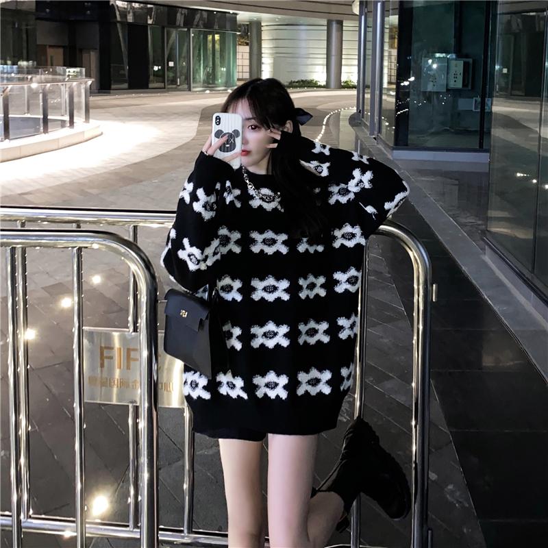 实拍实价 网红宽松提花毛衣-1+1时尚潮流-