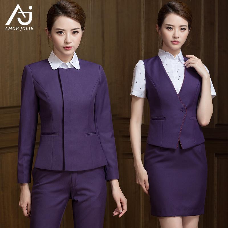 厦航空姐制服女职业套装修身套裙盘扣工装餐厅酒店销售工作服衬衫
