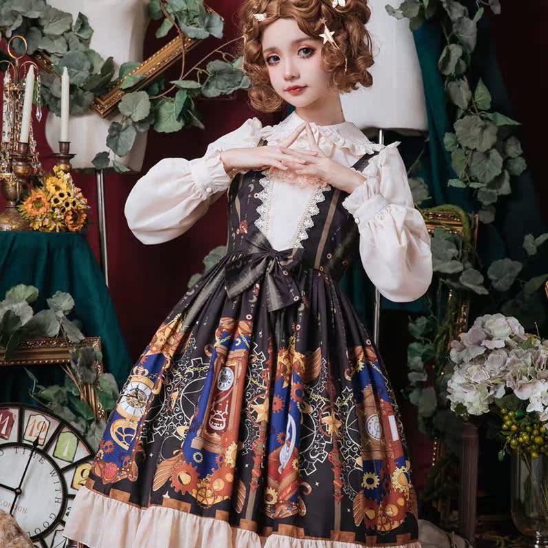 洛丽塔裙子正版日常装全套lolita时械之心吊带裙轻lo裙日常软妹秋