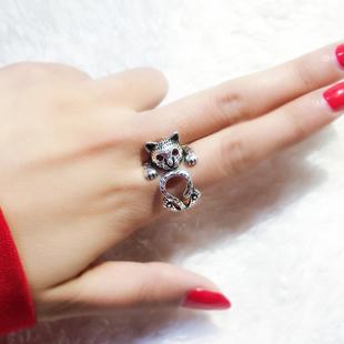 可爱小猫网红食指 女士s925