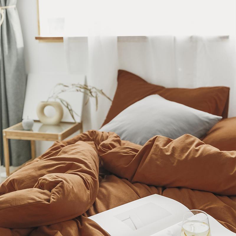 新款柔软贴身针织棉纯色纯棉天竺棉四件套床笠被套焦糖色床上用品