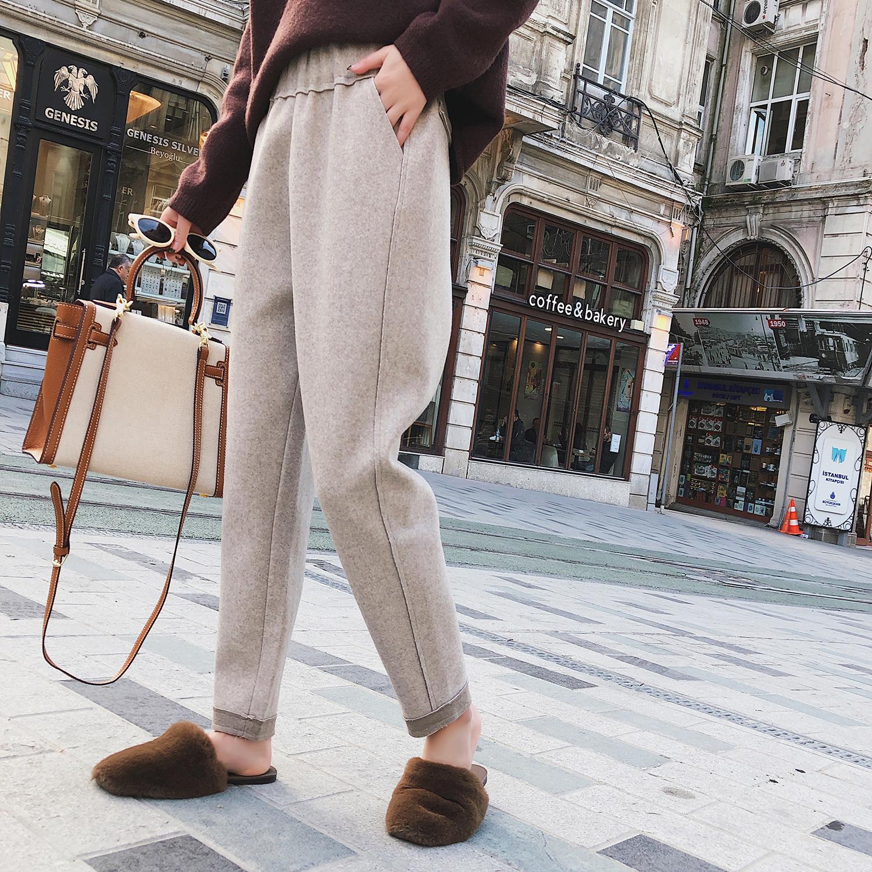 【孙小念】冬季chic休闲裤松紧加厚毛呢小脚铅笔裤女萝卜哈伦长裤