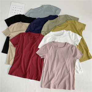 Japanese original high quality 80 double-sided mercerized cotton short-sleeved T-shirt female summer base wild loose was thin tee