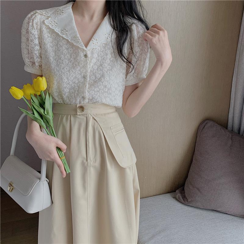 连衣裙套装女小清新2020夏季新款蕾丝镂空花边上衣半身裙两件套潮满110元减30元