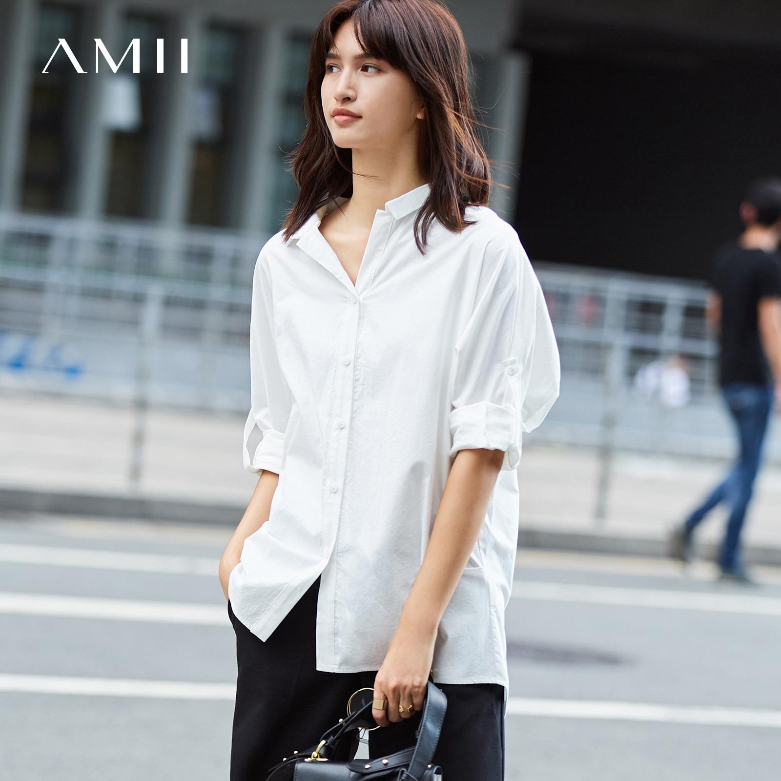 +Amii[极简主义]帅气有型 纯棉BF风衬衫女2017秋新款连肩长袖上衣