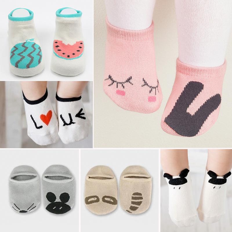 春秋夏季松口全棉卡通婴儿3男童秋冬女宝宝6个月防滑薄款地板袜子