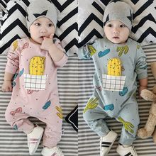 春夏款新生婴幼mo4童连体哈ng宝纯棉连身衣爬服0-3-6-9个月