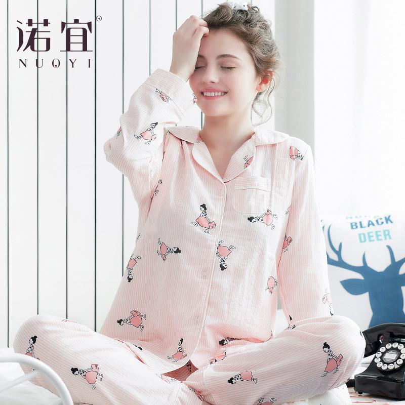 月子服长袖薄款产后夏纱布喂奶睡衣