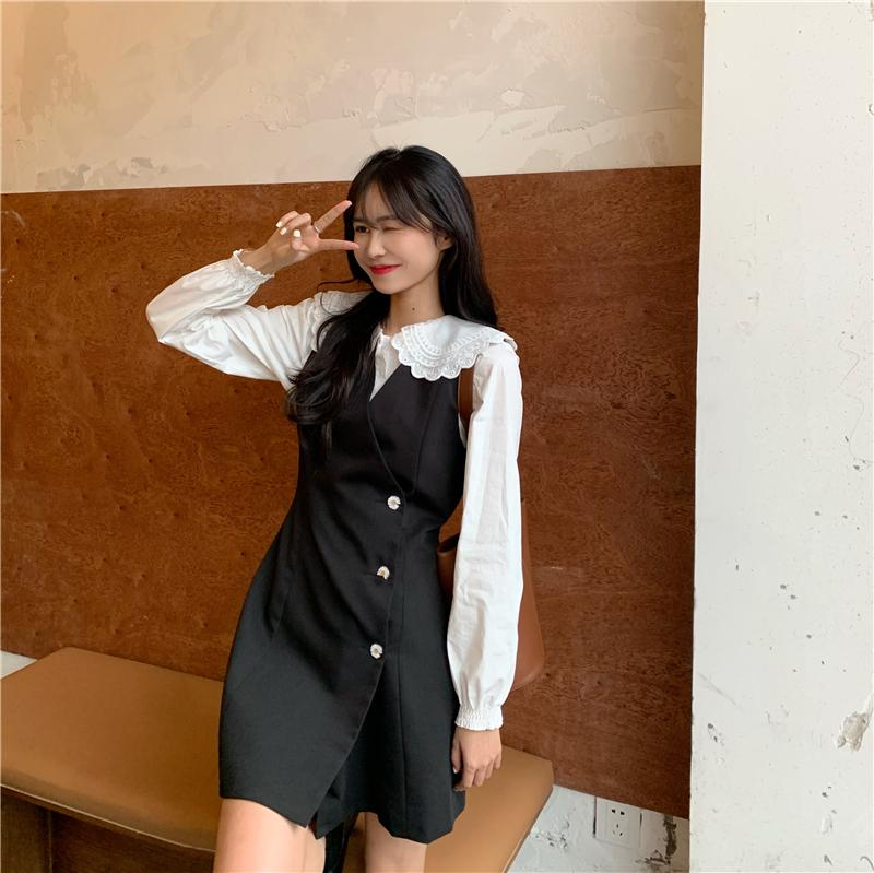 实拍实价~韩版甜美蕾丝长袖衬衫+百搭长款马甲连衣裙 已检测-伊美服饰-