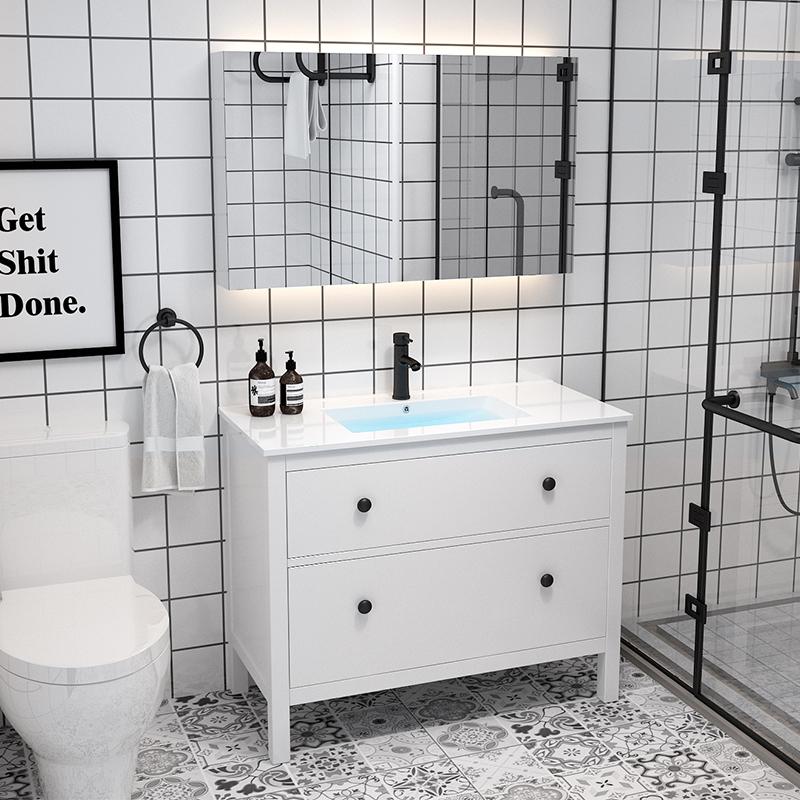 卫浴北欧浴室柜组合卫生间现代简约洗脸洗手盆洗漱台盆落地式镜柜