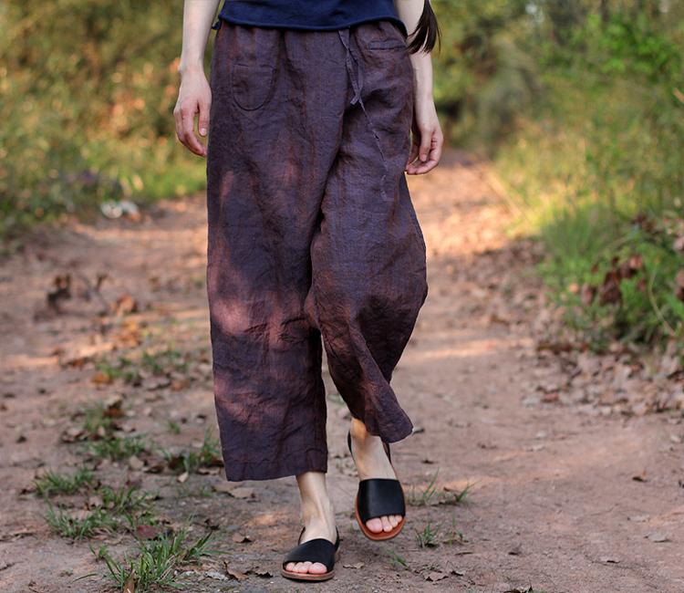 壹旧原著夏款亚麻铁锈紫蓝色腰部交叠松紧腰抽绳九分小直筒休闲裤