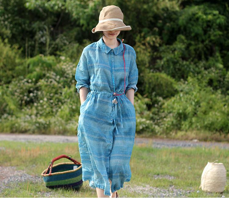 壹旧原著夏款薄款水波蓝横段大翻领单排纽扣腰部抽绳衬衫式连衣裙