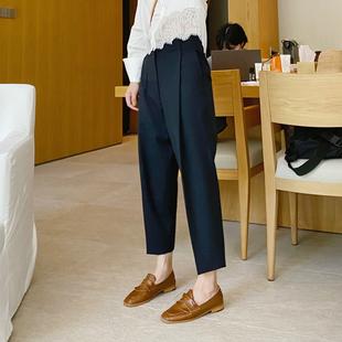 大吹女20/秋 私fu时髦立体打褶设计显瘦复古法式高腰九分西装裤图片