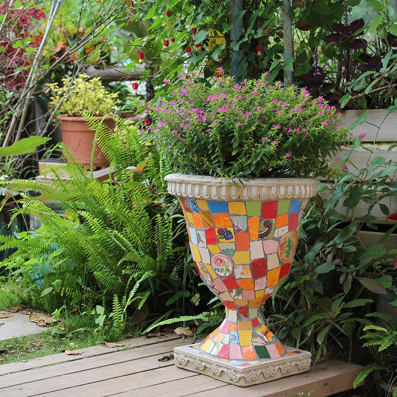 玫瑰小镇手绘彩瓷马赛克花盆 高档庭院花园阳台盆栽花器花缸有孔