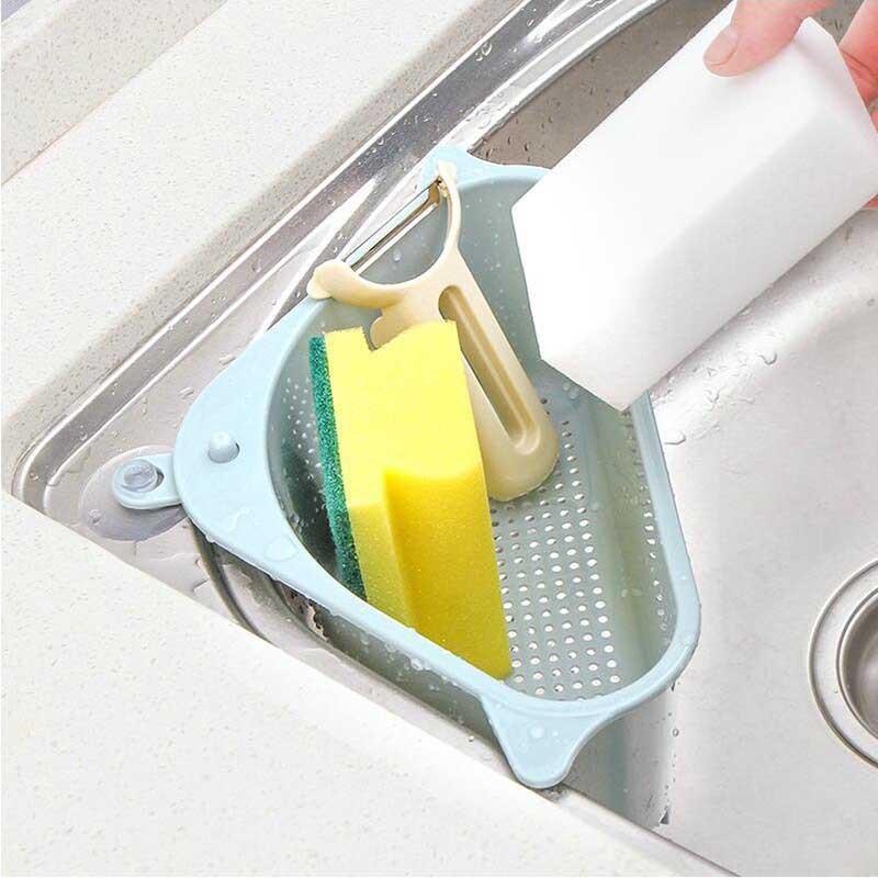 厨房蔬菜置物架家用洗碗池沥水架三角收纳架挂架免打孔托盘挂篮筐