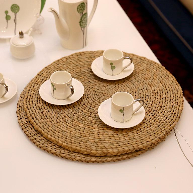 日式简约草编田园餐垫杯垫隔热垫茶具垫手工编织锅垫碗垫圆形餐垫