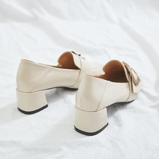 软妹英伦小皮鞋女2018春秋新款漆皮粗跟鞋子韩版百搭女士中跟单鞋