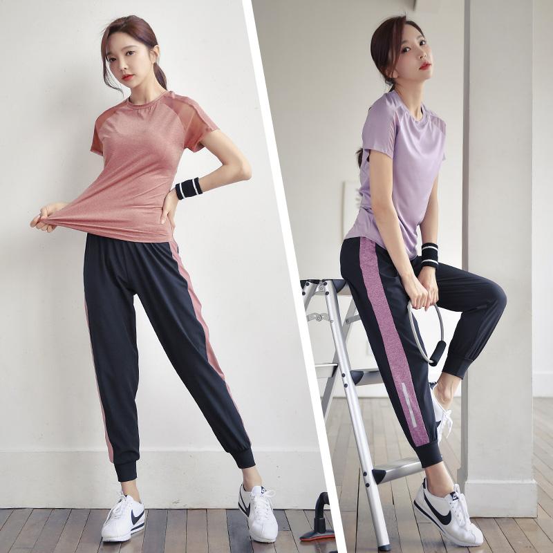 夏季瑜伽服套装短袖女士健身房运动跑步服宽松健身速干衣透气网纱