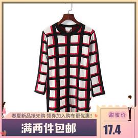 贝系列 新款春秋女装库存折扣时尚格子休闲中长款套头针织衫K779