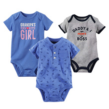 婴儿三角哈衣mi3特夏款纯ei短袖新生儿爬服外贸连体宝宝童装