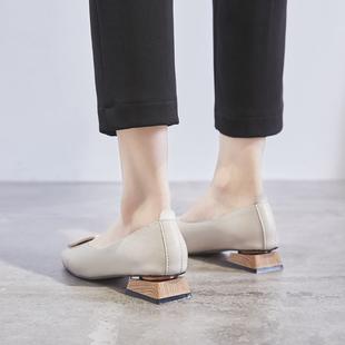鞋夫人复古奶奶鞋粗跟单鞋女低跟豆豆鞋2019春款方头韩版浅口瓢鞋