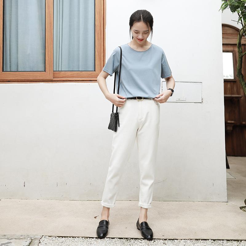 叙旧K4277/春邮/纯色宽松牛仔裤女 2018秋季新款长裤