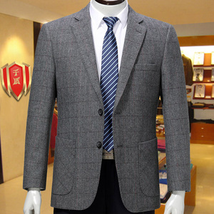 Middle-aged men's casual dark plaid wool suit Qiandun middle-aged and elderly men's single suit dad cashmere jacket