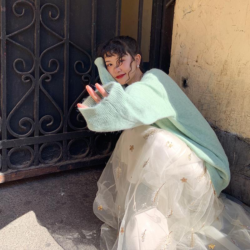 梅子熟了 文艺复古高腰超仙的绣花网纱半身裙女 秋季2019年新款