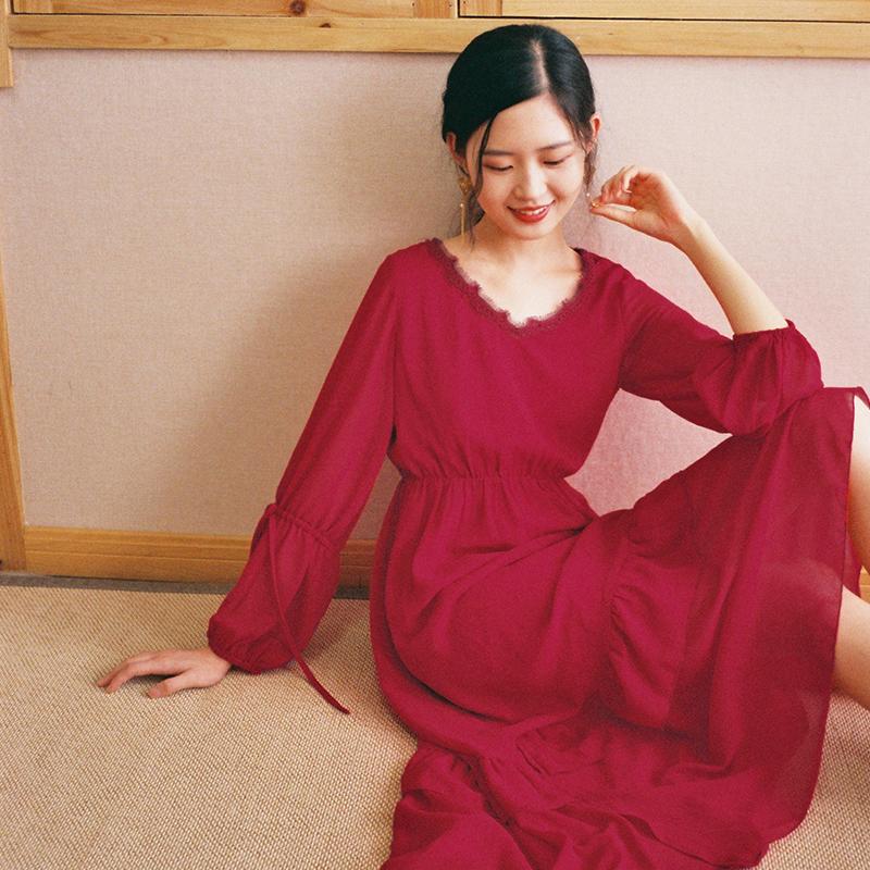 梅子熟了 文艺雪纺连衣裙 复古chic红色灯笼袖仙女裙2018早秋新款