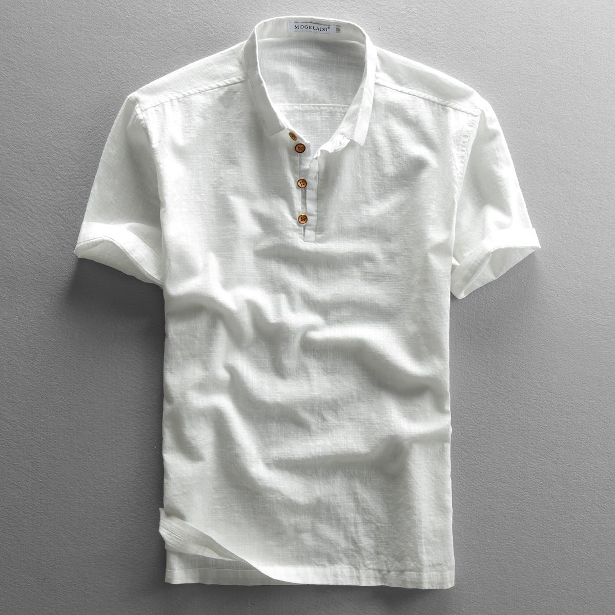 2020夏季男新款亚麻衬衫棉麻复古透气套头轻薄麻布T恤男短袖衬衣