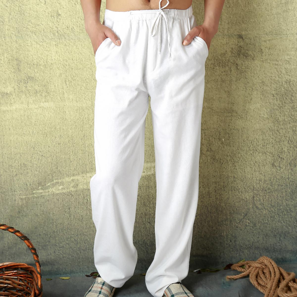 夏季新款男士休闲亚麻裤纯白色宽松紧薄复古中国风棉麻阔腿长裤子