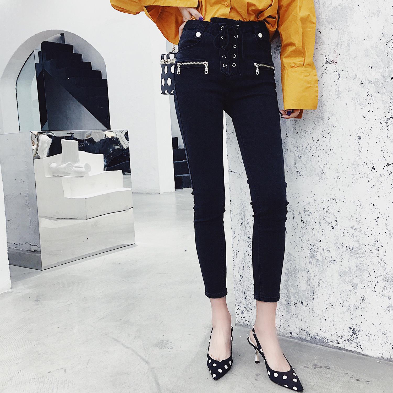 2018新款女装春秋韩版抽绳高腰显瘦黑色牛仔裤女弹力紧身小脚裤