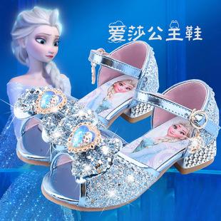 女童凉鞋2020新款爱莎公主鞋冰雪奇缘儿童高跟鞋水晶鞋模特走秀鞋图片