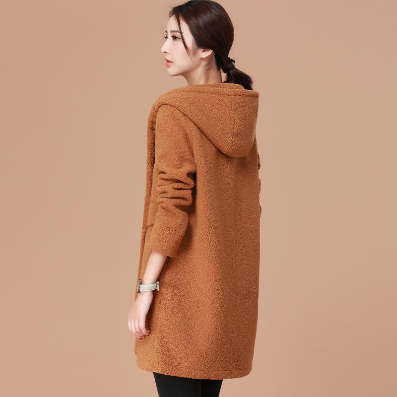 韩潮袭人羊羔绒连帽中长款外套女士冬季加厚保暖棉衣宽松休闲大衣