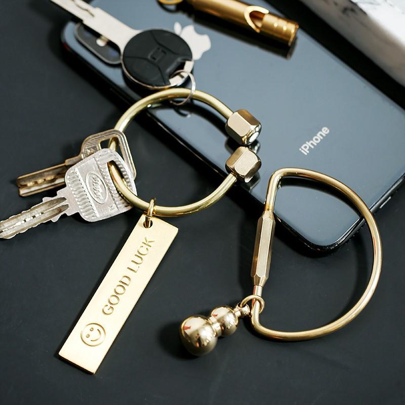 北欧ins风男士女式纯铜车钥匙扣黄铜挂坠小清新金属钥匙圈环挂件