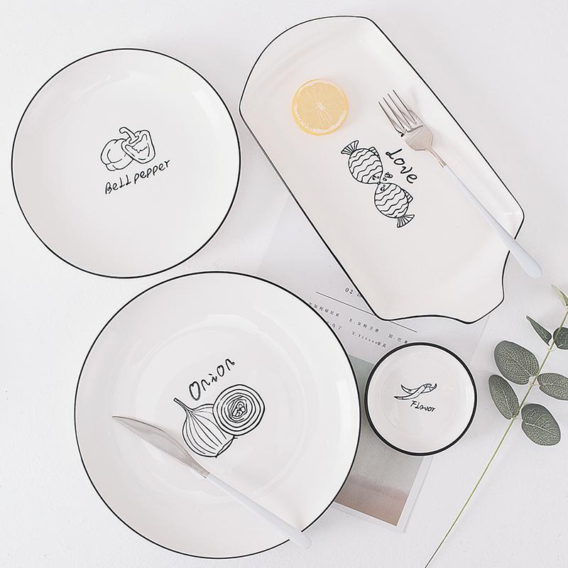 釉下彩北欧餐具家用盛菜盘子陶瓷早餐盘味碟圆形平盘深盘汤盘鱼盘