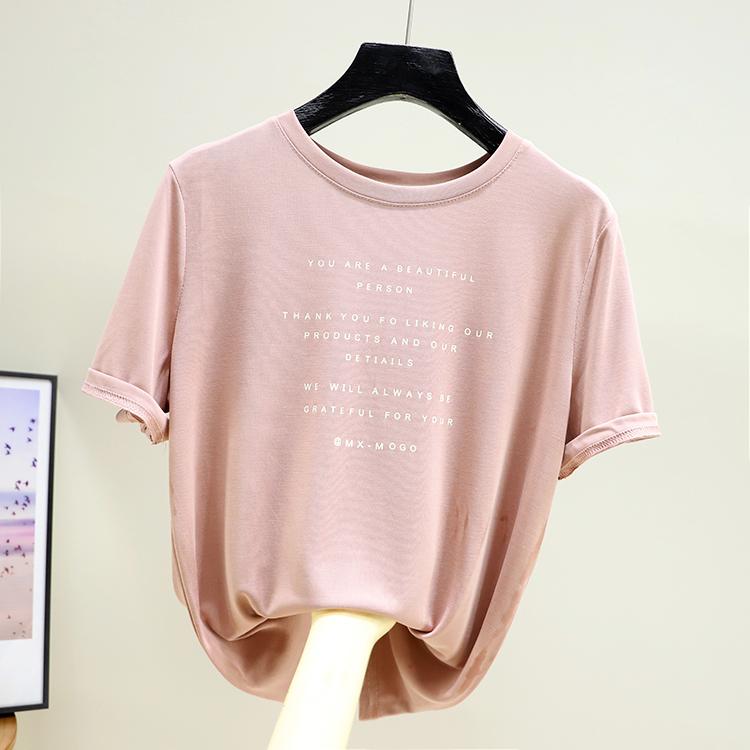 夏装新款2020半袖字母短袖t恤女士莫代尔上衣圆领洋气体恤亲肤