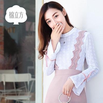 长袖修身蕾丝收腰背带裙棉立方2017秋装新款女装绣花两件套连衣裙