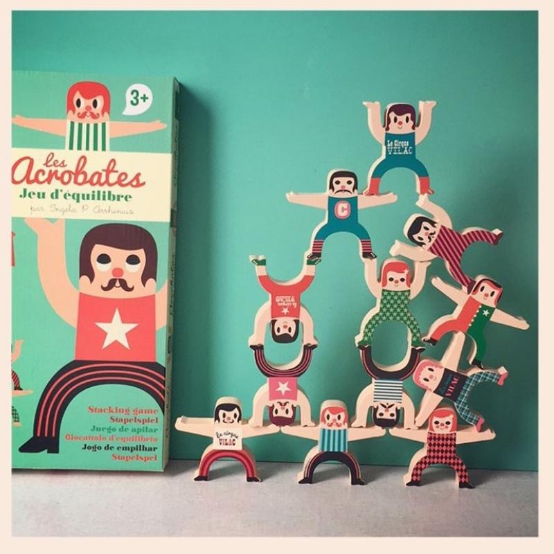法国Vilac平衡大力士杂技团木制叠叠乐 宝宝木头桌游儿童叠高玩具