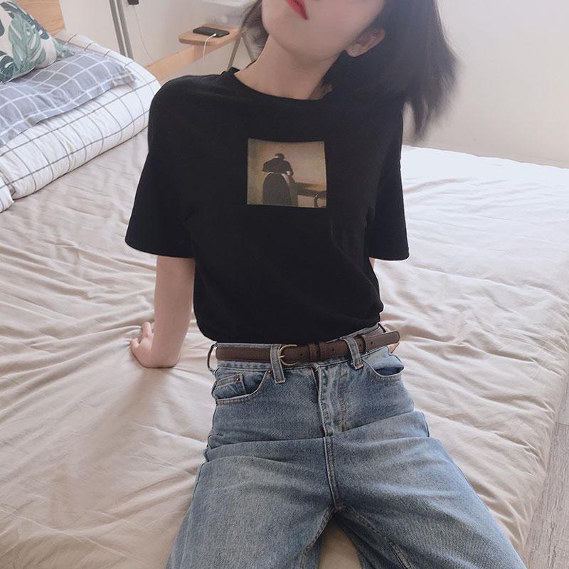 忠犬小八丨2018夏季新款圆领宽松休闲胶印短袖T恤女ins上衣