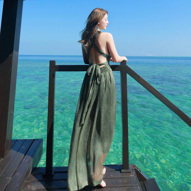 2018夏女新款海边度假露背沙滩裙波西米亚长裙巴厘岛显瘦连衣裙子