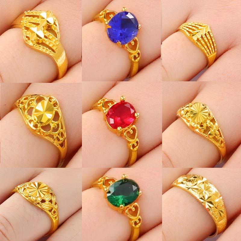 越南沙金戒指女花朵仿真假黄金首饰999镀金正品首饰久不掉色开口